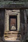 Ancient Temple Gate, Angkor Wat Landmark, Cambodia. Ancient Temple In Siem Reap. Angkor Wat Detail.  poster
