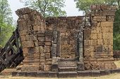 Ancient Temple Stone Ruin In Angkor Wat Temple. Ancient Temple Restoration. Angkor Wat Landscape. Kh poster