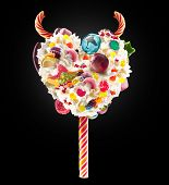 Devil Heart Milk Shake Lolipop With Sweets And Whipped Cream, Front View. Sweet Devil Lolipop Concep poster