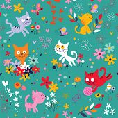Kittens among flowers pattern