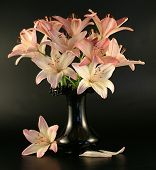 Flowers Of A Pink Lily In A Vase.