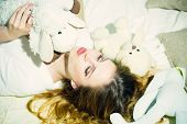 Relax Woman Relax In Bed With Soft Toys. Relax, Time To Relax. poster
