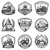 Vintage Monochrome Agricultural Machinery Labels Set With Combines Harvesting Vehicles Loader Tracto poster