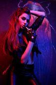 Fashion Girl Red Blue Light In Studio. Art Design, Colorful Girl. Over Black Background. Fashion Por poster