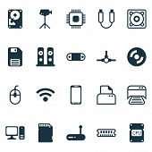 Hardware Icons Set With Central Processor Unit, Paper Printer, Personal Computer And Other Music Ele poster