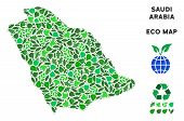 Ecology Saudi Arabia Map Collage Of Herbal Leaves In Green Color Variations. Ecological Environment  poster