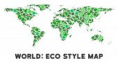 Ecology World Map Mosaic Of Herbal Leaves In Green Color Variations. Ecological Environment Vector T poster
