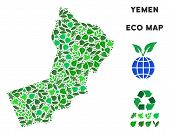 Ecology Yemen Map Mosaic Of Herbal Leaves In Green Color Tones. Ecological Environment Vector Templa poster