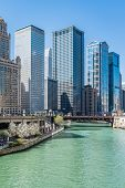 The Chicago River and Downtown Chicago Skyline with Skyscrapers, Illinois, USA poster
