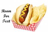 Hot Dog in bun. Isolated on white. Room for text. Hotdog and Potato Chips.  Hot Dog with Mustard.  poster
