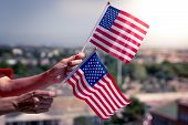 Woman Hands With Usa National Flag Celebrating American National Holiday Like 4ht Of July, Flag Day, poster