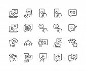 Simple Set Of Feedback Related Vector Line Icons. Contains Such Icons As Star Rating, User Opinion,  poster