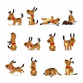 Cartoon Dog Set. Dogs Tricks Icons And Action Training Digging Dirt Eating Pet Food Jumping Wiggle S poster