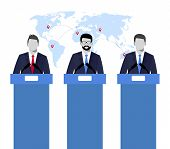 Election Debates, Dispute, Social Discussion. Illustration Concepts Illustration Of A Speakers. Poli poster