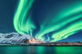 Green Northern Lights In Lofoten Islands, Norway. Aurora Borealis. Starry Sky With Polar Lights. Nig poster