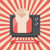 Fist Hand In Retro Television. Television Propaganda Poster Vector Illustration poster