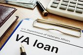 Va Loan U.s. Department Of Veterans Affairs Form With Clipboard. poster