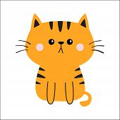 Orange Red Cat Sad Head Face Silhouette. Cute Cartoon Sitting Kitty Character. Kawaii Animal. Funny  poster