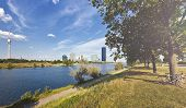 At The Danube Island With The Danube City Vienna, The New Dc Tower And The Danube Tower. The Dc-towe poster
