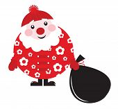 Cute Cartoon Retro Floral Santa With Big Bag - Vector..
