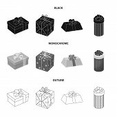 Gift Box With Bow, Gift Bag.gifts And Certificates Set Collection Icons In Black, Monochrome, Outlin poster
