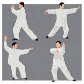 Four forms of Tai-chi. Men wear traditional chinese cloths. Gray background.  Color vector illustrat