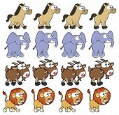 Animal Walking animations . Vector cartoon and isolated characters. You can use four frames in loop,