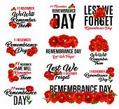 Remembrance Day Poppy Flower Icon. Memorial Day Floral Symbol Of Red Poppy Flower Wreath With Lest W poster