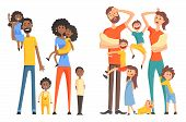 Young Afro-american And Caucasian Family. Cheerful And Tired Parents With Children. Funny Little Kid poster