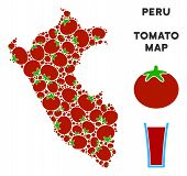 Peru Map Collage Of Tomato In Different Sizes. Vector Tomato Vegetable Symbols Are Combined Into Per poster