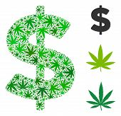 Dollar Mosaic Of Cannabis Leaves In Variable Sizes And Green Tinges. Vector Flat Cannabis Objects Ar poster