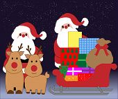 Santa, Rudolph, Sleigh with Gifts