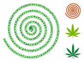Hypnosis Spiral Composition Of Weed Leaves In Variable Sizes And Green Shades. Vector Flat Weed Icon poster
