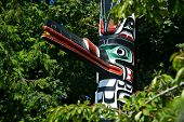 image of totem pole  - Detail of a totem pole located in Victoria British Columbia - JPG
