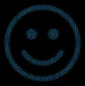Halftone Glad Smiley Composition Icon Of Spheric Bubbles In Blue Color Tints On A Black Background.  poster