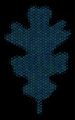 Halftone Oak Leaf Mosaic Icon Of Circle Bubbles In Blue Color Tinges On A Black Background. Vector S poster