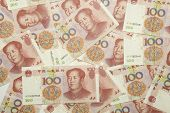 stock photo of zedong  - Scattered pile of one hundred yuan notes - JPG