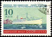 Old Passenger Ship On Post Stamp