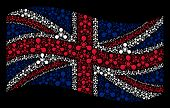 Постер, плакат: Waving Uk Official Flag On A Black Background Vector Wmd Nerve Agent Chemical Warfare Elements Are