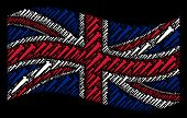 Waving United Kingdom Official Flag On A Black Background. Vector Screw Icons Are Arranged Into Mosa poster