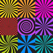 Vector Set Of Sunburst And Spiral Backgrounds. Abstract Seamless Pattern In Retro Comic Style. Radia poster