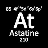 Periodic Table Element Astatine Icon On White Background. Vector Illustration. poster
