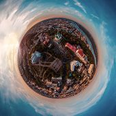 A Big 360 Degrees Panorama In High Resolution Of The City Of Kiev On Podol At Sunset. poster