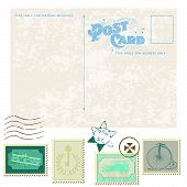 Retro Postcard And Postage Stamps - For Wedding Design, Invitation, Congratulation, Scrapbook