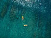 Aerial View Of Surfing. Surfing In Ocean poster