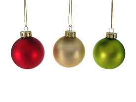 image of christmas ornament  - red silver green christmas ornaments isolated - JPG