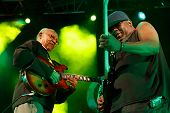 LOULE, PORTUGAL - JUNE 30: Jamaican Legends performs onstage in a world music festival at festival m