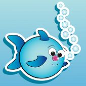 Fish with air bubbles - Card for kids - Scrapbook and labels useful