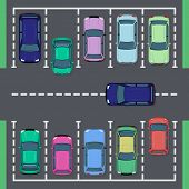 Street Car Parking. Top View Street Vehicle, Public Parking Zone Views And Auto Transport Parking Ar poster