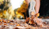 close up of feet of a runner running in autumn leaves training for marathon and fitness healthy life